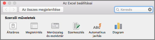 Mac Office 2016 menüszalag eszköztár beállításai