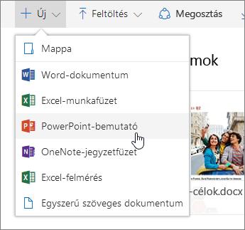 Képernyőkép: fájl vagy mappa létrehozása a OneDrive-ban