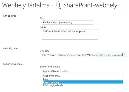 A SharePoint 2016 alwebhely létrehozására szolgáló képernyője