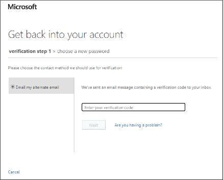 A hitelesítő kód megadására szolgáló képernyő