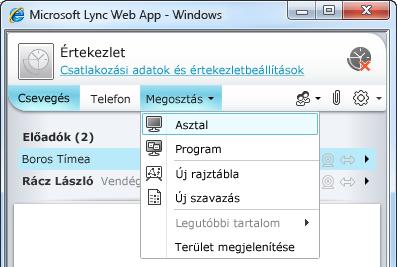 A Lync Web App Megosztás menüje