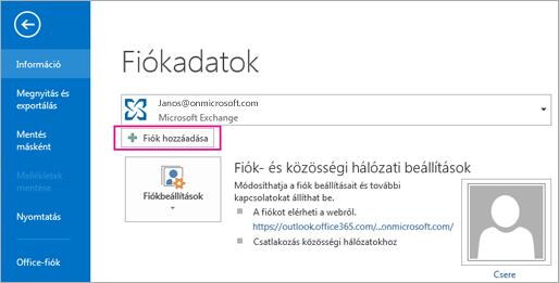 Ha fel szeretne venni egy Gmail-fiókot az Outlookba, kattintson a Fiók hozzáadása gombra