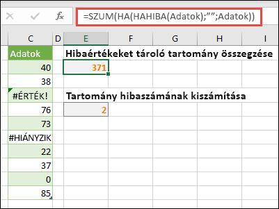 """Tömbök használata a hibák kezeléséhez. Például = SZUM (ha (hibás (Data), """""""", Data) – akkor is összesíti az elnevezett adattartományt, ha a hibát tartalmaz, például #VALUE! vagy #NA!."""