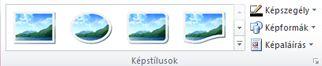 A Képeszközök lap Képstílusok csoportja a Publisher 2010 alkalmazásban