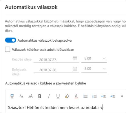 """""""Házon kívül"""" válasz létrehozása a Webes Outlookban"""