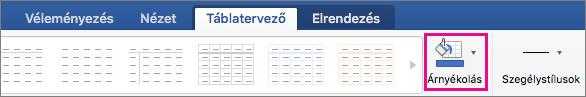 A Táblázateszközök Tervezés lapján a mintázat ki van emelve.