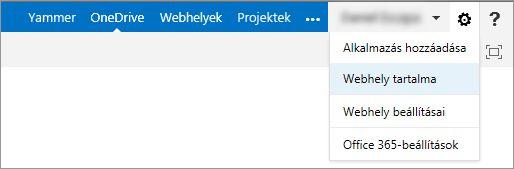A webhely tartalma
