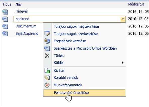 SharePoint 2007 legördülő lista a kiemelt Bemutatkozás figyelmeztetéssel
