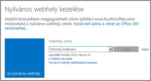 A Nyilvános webhely kezelése lap a Tartomány kiválasztása mezővel