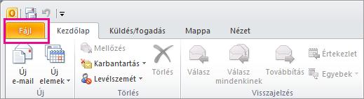 Válassza az Outlook 2010-ben a Fájl fület.