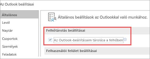 Az Outlook beállítási lehetőségeinek megjelenítése