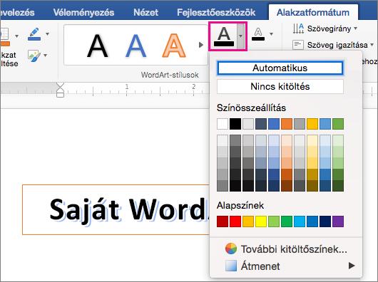 A szöveg kitöltése beállításának megjelenítése kiemelten az alakzatot a Formátum lap.