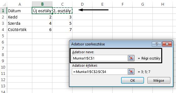 Ha másik cellát szeretne választani a jelmagyarázat neveként, kattintson az Adatsor neve szövegmezőbe.