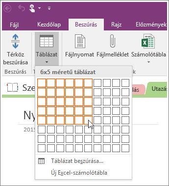 Képernyőkép, hogy miként helyezhet el táblázatot a OneNote 2016-ban.