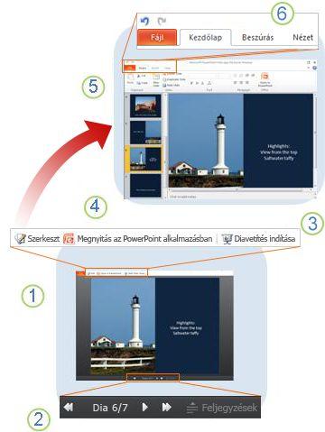 A PowerPoint Web App alkalmazás áttekintése