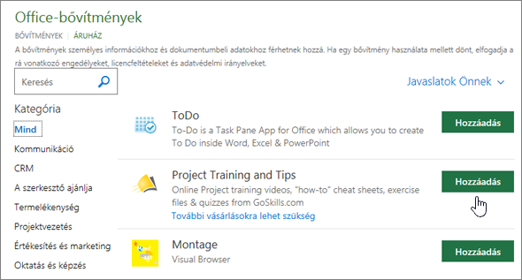 Képernyőkép a választhatja ki az áruház vagy Project-bővítmény keresése az Office-bővítmények lapról.