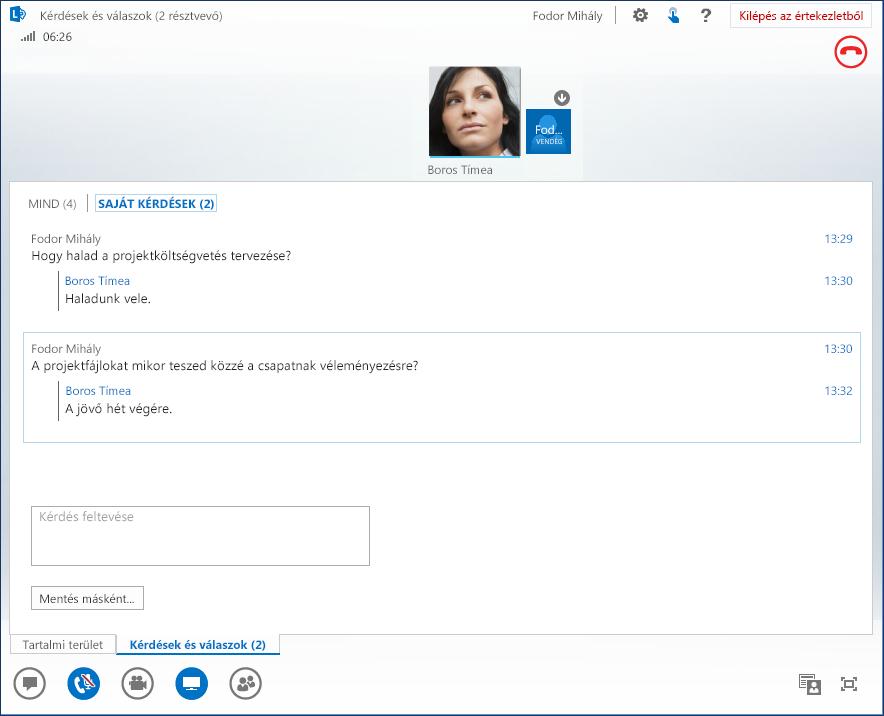 Képernyőkép: Kérdések és válaszok
