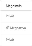 A megosztási állapot megtekintése a OneDrive Vállalati verzióban