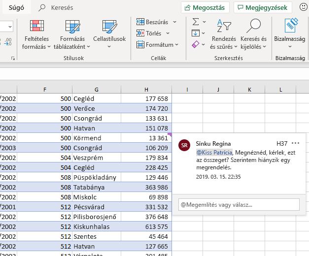 Képernyőkép egy megjegyzés írásáról az Excelben