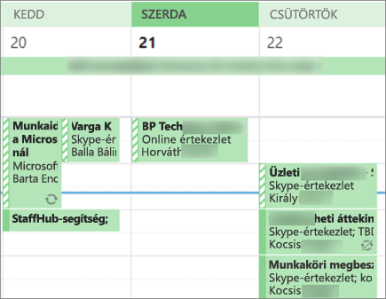 A naptár néz ki egy felhasználóhoz, korlátozott részletek megosztásakor.