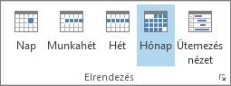 Elrendezés csoport a Kezdőlap lapon: nap, hét, munkahét, hónap és napirend