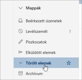 Képernyőkép a törölt elemek mappa