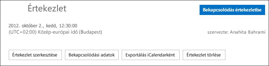 Az Értekezlet párbeszédpanel az iCalendar formátumban történő exportálásra szolgáló