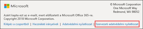 Office 365-csoportok üdvözlő üzenet lábléce