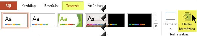 A PowerPoint menüszalagjának Tervezés lapján látható Háttér formázása gomb