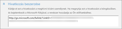 """Képernyőkép: közelkép a """"Felhasználó hozzáadása"""" párbeszédpanel """"Hivatkozás beszerzése"""" csoportjáról"""