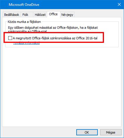 Az Office Upload lap a OneDrive beállításai között