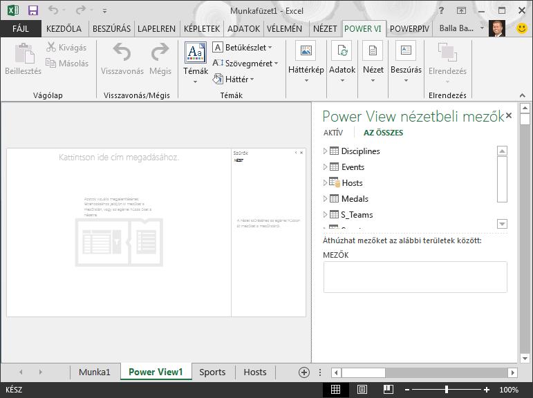 Üres Power View-jelentés az Excelben