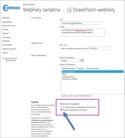 Az Új SharePoint-webhelyek lapon válassza az Egyedi engedélyek lehetőséget.