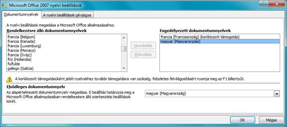 Az Office 2007 nyelvi beállításai