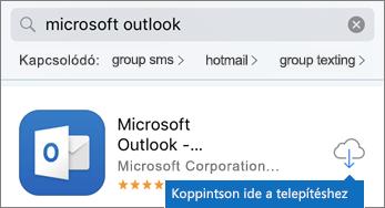 Koppintás a felhő ikonra az Outlook telepítéséhez