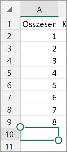 Az Excel AutoSzum Windows-táblagépre
