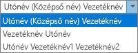 Az Outlook Személyekre vonatkozó beállításai, Teljes név rendezési szempont.