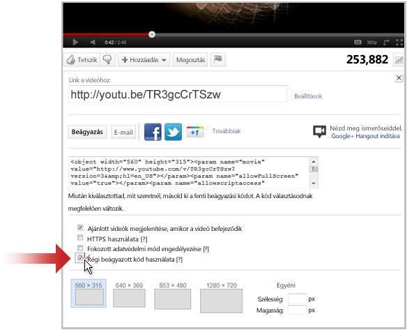 Videoklipre mutató hivatkozás létrehozása a YouTube-on