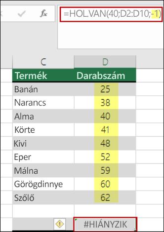 az Excel hol.van függvény