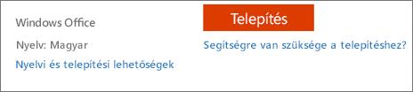 Nyelvi és telepítési lehetőségek az Office 365-höz