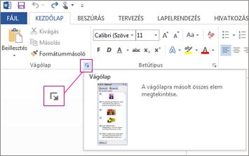 Az Office vágólap megnyitása a Word 2013-ban