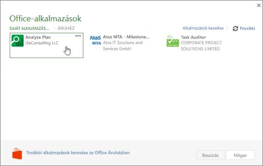 Képernyőkép: az alkalmazások fpr Office lapra, ahol elérheti és a Project-alkalmazások kezelése az Office-alkalmazások szakaszában.