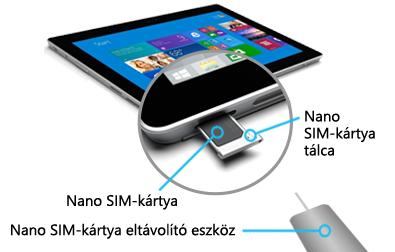 Nano SIM beszúrása a Surface 3 (4G-LTE)