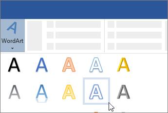 WordArt-elem beszúrása a menüszalagról