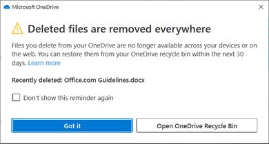 Értesítés a törölt fájlokról a OneDrive.