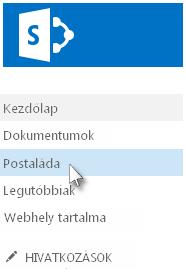 A Postaláda hivatkozás a Fontos rovatok sávon