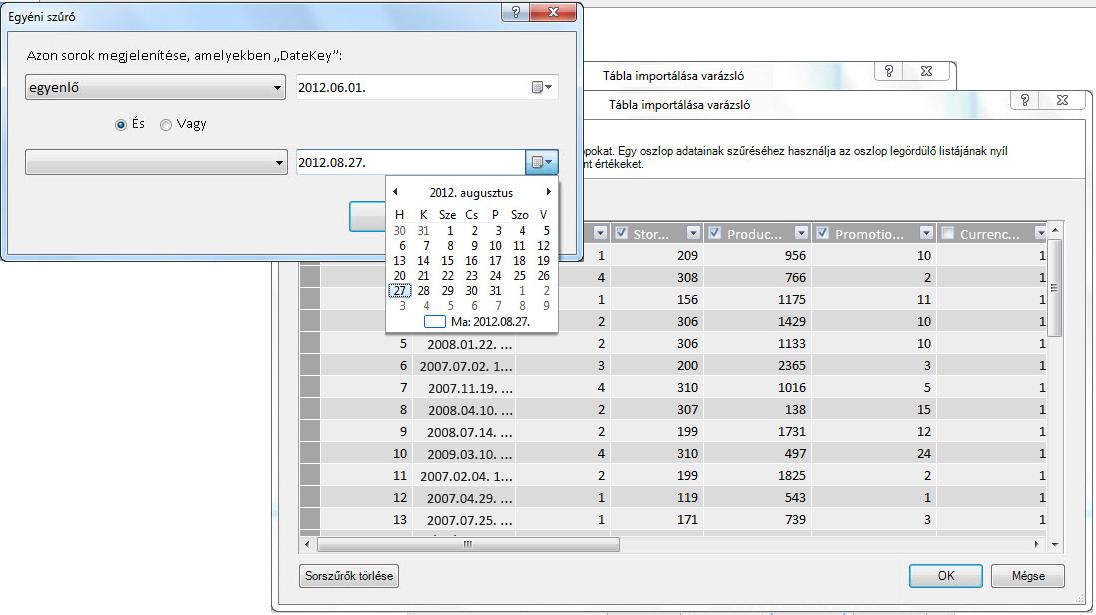 A Tábla importálása varázsló szűrőablaktáblája