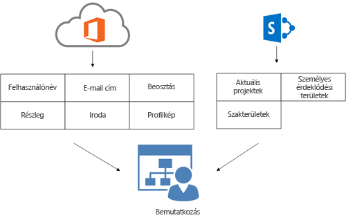 Az ábrán az látható, hogy az Office 365 Címtár-szinkronizálás eszközének profiladatai és a SharePoint Online profiladatai hogyan töltik ki egy felhasználó adatait a Bemutatkozás lapon