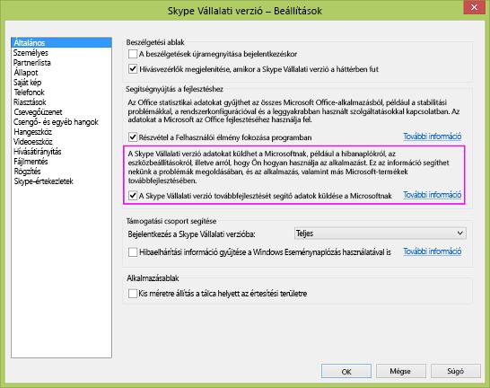 A Skype Vállalati verzió Adatgyűjtés jelölőnégyzete a Beállítások > Általános párbeszédpanelen