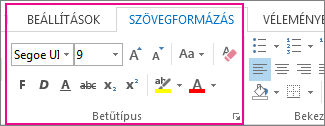 The format text ribbon